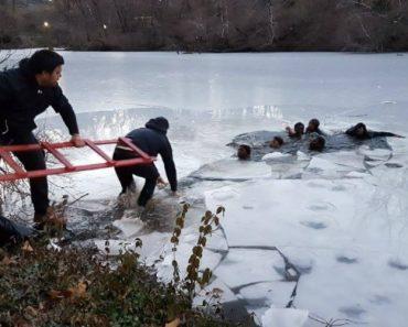 Grupo De Jovens Cai Em Lago Congelado No Central Park 4