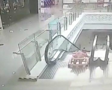 Mãe Distrai-se e Bebé Em Andarilho Cai Em Escada Rolante Num Shopping 6