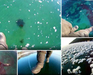 Homem Faz Filmagem Hipnotizante a Caminhar No Lago Congelado Mais Profundo Do Mundo 4