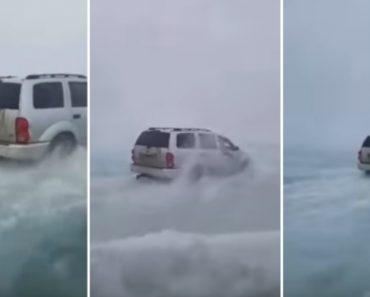 Pescadores Desafiam Lago Parcialmente Descongelado a Bordo Dos Seus Jipes 5