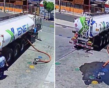 Descuido De Camionista Resulta Em Tremendo Derrame De Combustível 9