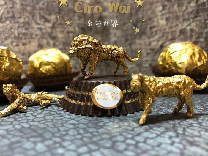 Artista Cria Esculturas Fantásticas Com o Papel Dos Chocolates Ferrero Rocher 14