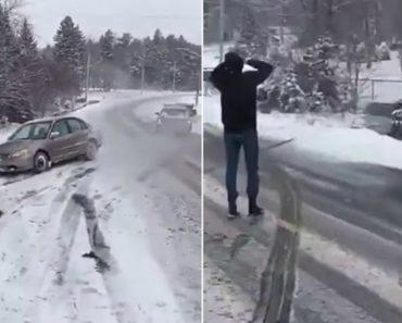 Grupo De Amadores Tenta Rebocar Carro Que Ficou Preso Na Neve 1