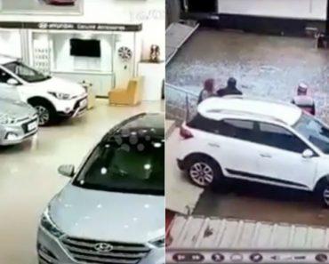Mulher Destrói Montra De Stand Ao Experimentar Carro Novo 1