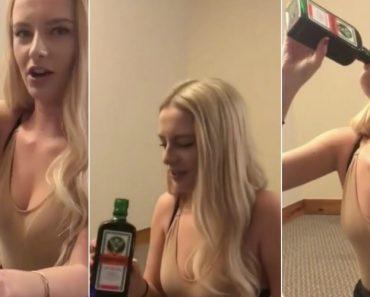 Jovem Loira Bebe Garrafa De Jägermeister (35% De Álcool) De Penálti 7