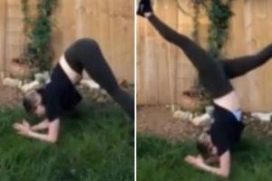 Mulher Tem Surpresa Desagradável Ao Fazer Yoga No Jardim 10