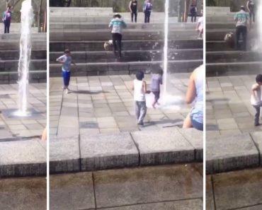 Criança é Projetada Pela Pressão Da Água Enquanto Brinca Numa Fonte 7