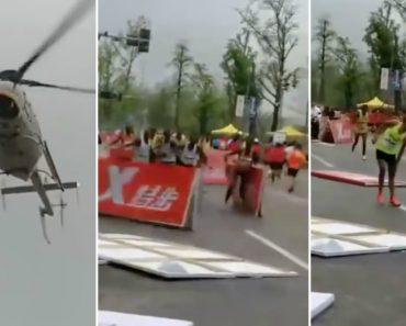 Helicóptero Provoca o Caos Ao Voar Muito Próximo Dos Atletas Durante Uma Maratona 1
