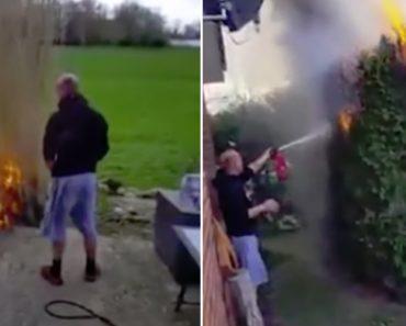 Homem Mantém Uma Bizarra Tranquilidade Enquanto Vê o Seu Jardim a Arder 7