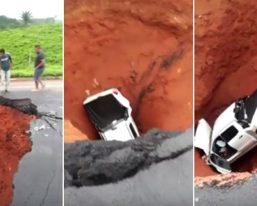 Pick-up é Totalmente Engolida Por Buraco Gigantesco Na Estrada 6