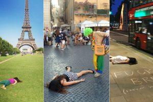 "Mulher ""Anti-Selfies"" Finge Estar Morta Em Locais Turísticos 7"