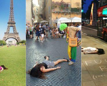 "Mulher ""Anti-Selfies"" Finge Estar Morta Em Locais Turísticos 1"