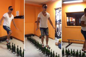Homem De Olhos Vendados Caminha Em Cima De 122 Garrafas De Vinho 8