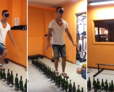 Homem De Olhos Vendados Caminha Em Cima De 122 Garrafas De Vinho 4