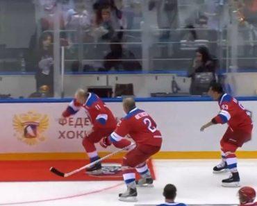 Putin Cai No Gelo Durante a Volta Da Vitória No Fim De Um Jogo De Hóquei 9