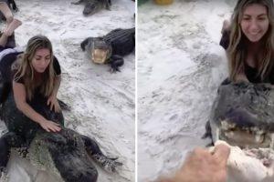 Jovem Tem Momento De Diversão Com Crocodilos 10