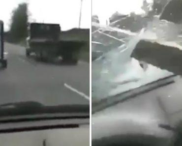 Condutor Capta Assustador Momento Em Que o Para-Brisas Do Seu Carro é Perfurado Por Ripa De Madeira 4