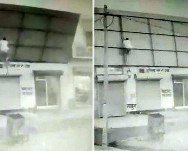 Homem é Inesperadamente Içado Ao Tentar Abrigar-se Debaixo De Telhado Durante Tempestade 1
