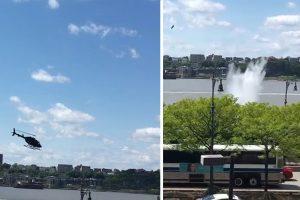 Helicóptero Cai No Rio Hudson Em Nova Iorque 9