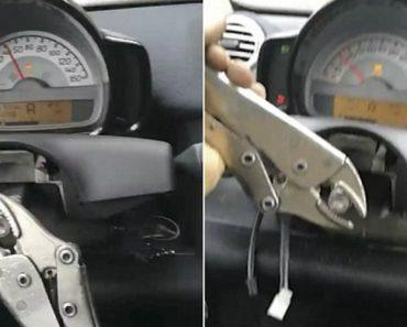 Um Alicate De Pressão Foi a Solução Que Este automobilista Encontrou Para Conduzir Carro Sem Volante 8