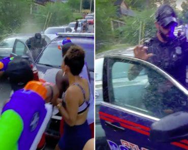 Populares Deixam Polícia Encharcado Ao Dispararem Pistolas De Água 3