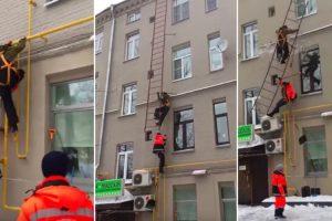 Trabalhadores Caem De Uma Escada De Emergência Quando Tentavam Limpar Telhado 9