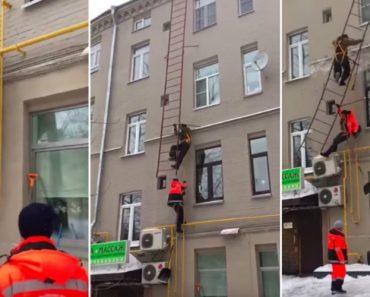 Trabalhadores Caem De Uma Escada De Emergência Quando Tentavam Limpar Telhado 3