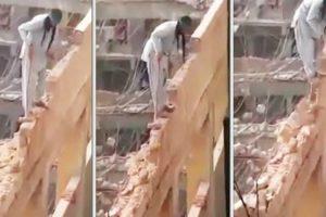 Trabalhador Usa a Mais Extrema Técnica Para Demolir Edifício 13