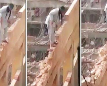 Trabalhador Usa a Mais Extrema Técnica Para Demolir Edifício 4