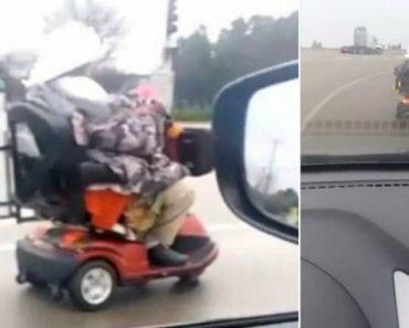 Idosa Em Scooter De Mobilidade Reduzida Provoca o Caos Numa Auto-Estrada 1